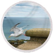 Solitary Seagull Take-off Round Beach Towel