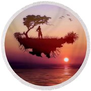 Solitary Sister Round Beach Towel