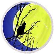 Solitary With Golden Moon Round Beach Towel