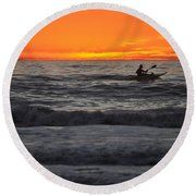 Solitude But Not Alone Round Beach Towel