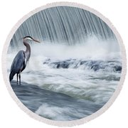 Solitude In Stormy Waters Round Beach Towel