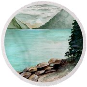 Solitude Of The Lake Round Beach Towel