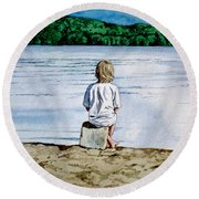 Solitude Upon The Lake Round Beach Towel