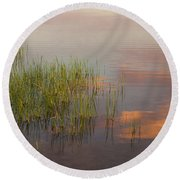 Solitute At The Lake Round Beach Towel
