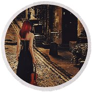 Soloist - Solitary Woman With Violin Round Beach Towel