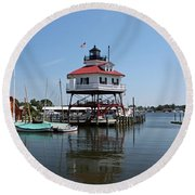 Solomons Island - Drum Point Lighthouse Reflecting Round Beach Towel