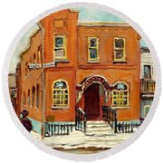 Solomons Temple Montreal Bagg Street Shul Round Beach Towel by Carole Spandau