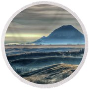 Some Bear Butte Fog Round Beach Towel by Fiskr Larsen