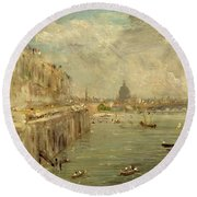 Somerset House Terrace From Waterloo Bridge Round Beach Towel by John Constable