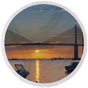 Something About A Sunrise Triptych 2 Round Beach Towel
