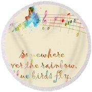 Somewhere Over The Rainbow Round Beach Towel by Nikki Smith