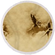 Song Of The Angels In Sepia Round Beach Towel