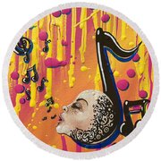Song Singing Song Round Beach Towel