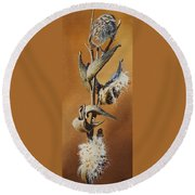 Song Sparrow And Milkweed Round Beach Towel