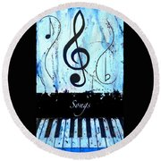 Songs - Blue Round Beach Towel