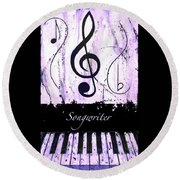 Songwriter - Purple Round Beach Towel