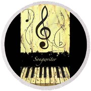Songwriter - Yellow Round Beach Towel