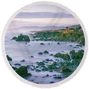 Sonoma Coast Shoreline Round Beach Towel