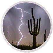 Sonoran Desert Monsoon Storming Round Beach Towel