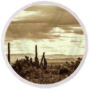 Sonoran Desert Mountains And Cactus Near Phoenix Round Beach Towel