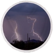 Sonoran Storm Round Beach Towel