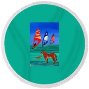 Tigers Sons Of The Sun Round Beach Towel