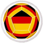 Soocer Ball With Germany Flag Round Beach Towel