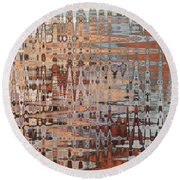 Sophisticated - Abstract Art Round Beach Towel