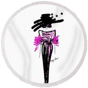 Sophisticated In Pink And Black Silk  Round Beach Towel