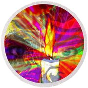Sorcerer's Candle Round Beach Towel