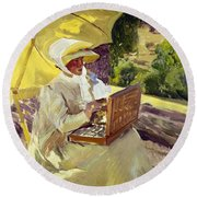 Sorolla: Painter, 1907 Round Beach Towel