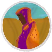 Sorrowful Mother Of The Past And Present Round Beach Towel