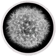 Soul Of A Dandelion Black And White Round Beach Towel