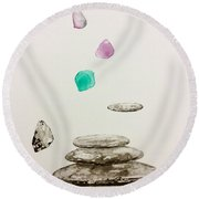 Soul Of Stones  Round Beach Towel