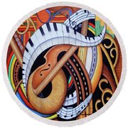 Sound Of Soul Strings Round Beach Towel