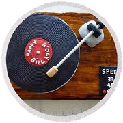 Record Player Cake Round Beach Towel