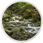 Sounds Of A Mountain Stream Round Beach Towel
