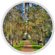 Sounds Of Victory The Bell Tower Furman University Greenville South Carolina Art Round Beach Towel