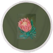 South Africa Protea Round Beach Towel