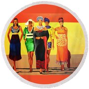 South African Beauties Round Beach Towel
