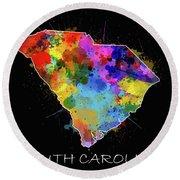 South Carolina Map Color Splatter 2 Round Beach Towel