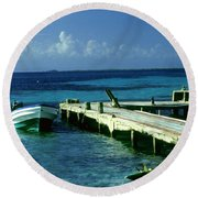 South Caye Belize Boat Dock Round Beach Towel