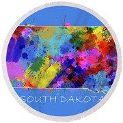 South Dakota Map Color Splatter 3 Round Beach Towel