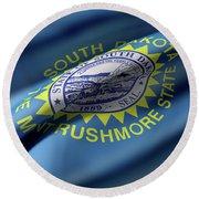 South Dakota State Flag Round Beach Towel