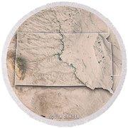 South Dakota State Usa 3d Render Topographic Map Neutral Border Round Beach Towel