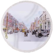 South Elm Street 1918 Round Beach Towel