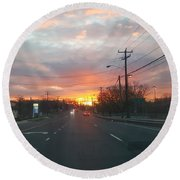 South End Sun Rise Round Beach Towel