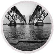 South Grand Island Bridge In Black And White Round Beach Towel