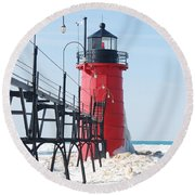 South Haven Pierhead Light Round Beach Towel
