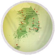 South Korea Map Square Cities Straight Pin Vintage Round Beach Towel